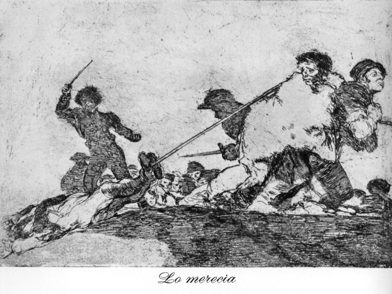 an analysis of the horrors of war in society in the disaster of war by francisco de goya Francisco goya, in full francisco josé de goya y lucientes, (born march 30, 1746,  the series of etchings the disasters of war (1810–14) records the horrors of the napoleonic invasion  the stiff elegance of the figures in full-length portraits of society ladies, such as the marquesa de pontejos,.